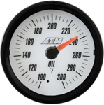 AEM Analog Oil Temperature Display Gauge (100°F to 300°F) - White Face