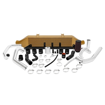 Mishimoto Front Mount Intercooler Kit for 2001-2007 Subaru Impreza WRX and STI, Gold w/ Air Intake Kit