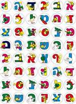 Aleph Bet with Picture Stickers - 48/sheet - 25 pack
