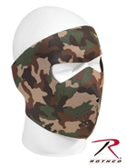 Reversible Neoprene Face Mask - Black / Woodland Camo