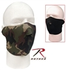 Reversible Neoprene Half Face Mask - Black / Woodland Camo