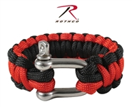 Rothco Paracord Bracelet w/ Stainless Steel D-Shackle Closure - Red/Black