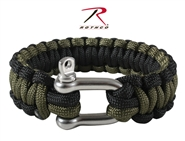 Rothco Paracord Bracelet w/ Stainless Steel D-Shackle Closure - OD Green/Black