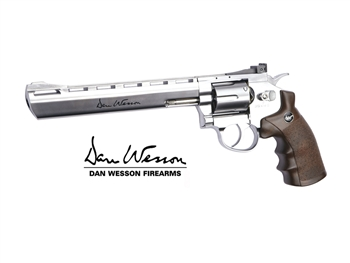 "Dan Wesson 8"" Chrome CO2 Airsoft Revolver – Full Metal Licensed Replica"