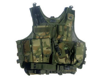 Fidragon Tactical Vest w/ Cross Draw Pistol Holster - Woodland Camo