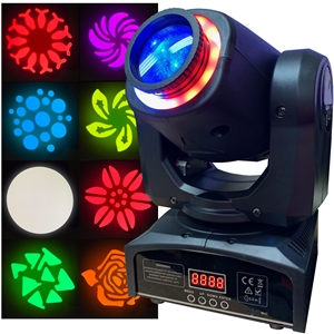 LED Moving Head Spot - Bright, Lightweight, 60 Watt, 8 Gobos, 8 Colors, FX Ring - Adkins Professional Lighting