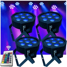 Up-Lighting System - 4 FlatPar HEX Color 7 x 10 watt RGBAW Up Lights w/Easy Remote Control - Adkins Professional Lighting