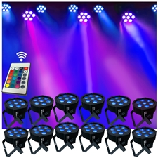 Up-Lighting System - 12 FlatPar HEX Color 7 x 10 watt RGBAW Up Lights w/Easy Remote Control - Adkins Professional Lighting