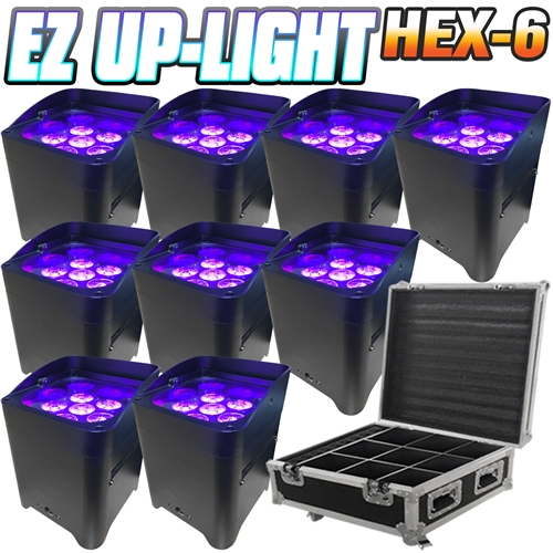 Led Battery Powered Wireless Dmx 16 Hour 9 Lights W Case 6x6w Rgbaw Uv Wedding