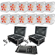 Wedding Up Lighting - 12 LED Battery Powered Wireless Lights w/2 Cases & Easy Controller - 16 Hour - Adkins Professional Lighting - UpPak12_6x6-W-C