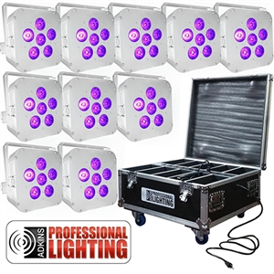 LED Battery Powered Wireless DMX - 16 Hour - 10 Lights w/Case - 6x6W RGBAW+UV - Wedding Up Lights