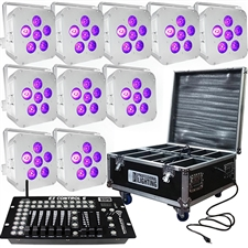 LED Battery Powered Wireless DMX - 16 Hour - 10 Lights w/Case - 6x6W RGBAW+UV - w/ Easy Controller - Wedding Up Lights