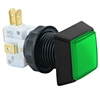 Small Square  Illuminated Pushbutton - Green