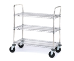 "36""L x 24""W 3-Tier Stainless Steel Series Utility Cart"