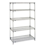 "Metro Stainless Steel Super Adjustable 2 Wire Shelving - 5-Shelf Unit, 18"" x 36"" x 74"""
