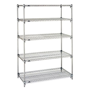 "Metro Stainless Steel Super Adjustable 2 Wire Shelving - 5-Shelf Unit, 18"" x 48"" x 74"""