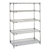 "Metro Super Adjustable 2 Wire Shelving - 5-Shelf Unit, Chrome, 24"" x 48"" x 74"""