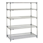 "Metro Stainless Steel Super Adjustable 2 Wire Shelving - 5-Shelf Unit, 24"" x 60"" x 74"""