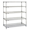 "Metro Super Adjustable 2 Wire Shelving - 5-Shelf Unit, Chrome, 24"" x 72"" x 74"""