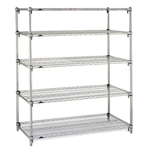 "Metro Stainless Steel Super Adjustable 2 Wire Shelving - 5-Shelf Unit, 24"" x 72"" x 74"""
