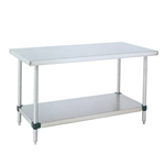 "Metro MWT305FS 30"" x 48"" HD Super Stainless Steel Mobile Work Table - Full S/S Lower Shelf"