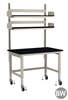 "TOD Rapid Ship Table with Overhead Reagent Shelving Kit - 48"" W"