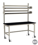 "TOD Rapid Ship Table with Overhead Shelving Kit - 72"" W"