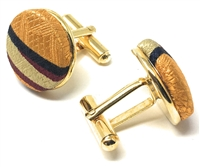 GOLD, TAN, BURGUNDY AND NAVY HANDMADE 100% SILK CUFFLINKS CL-128