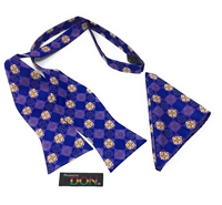 Ghanaian Mythical Two-Headed Crocodile - Unity Untied Adjusted Bow Tie Set With Matching Hanky DC237AUTBT