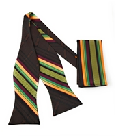 Dignity (Kente) Adjustable Self-Tie Bow Tie Set - Includes Matching Hanky DD101STBT