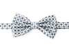 Silver With Grey Squares Pre-Tie Bow Tie Set - Includes Matching Pocket Square DPTBT421
