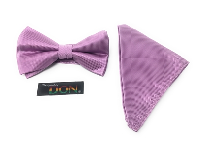 Lavender Pin Dot Bow Tie Set - Includes Matching Hanky DTBT45