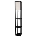 Black 3-Shelf  Modern Floor Lamp with Beige Linen Shade