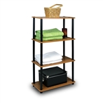 4-Tier Storage Shelf Display Rack Bookcase in Cherry Finish