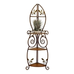 Metal and Wood 3-Shelf Corner Bakers Rack with Floral Leaf Accents