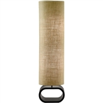 Cylinder Shape Medium Brown Burlap Floor Lamp with Bent Wood Base