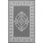 5'10 x 9'2 Grey White Medallion Indoor Outdoor Area Rug