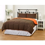 King/CAL King size 3-Piece Brown Orange Microfiber Comforter Set with 2 Shams