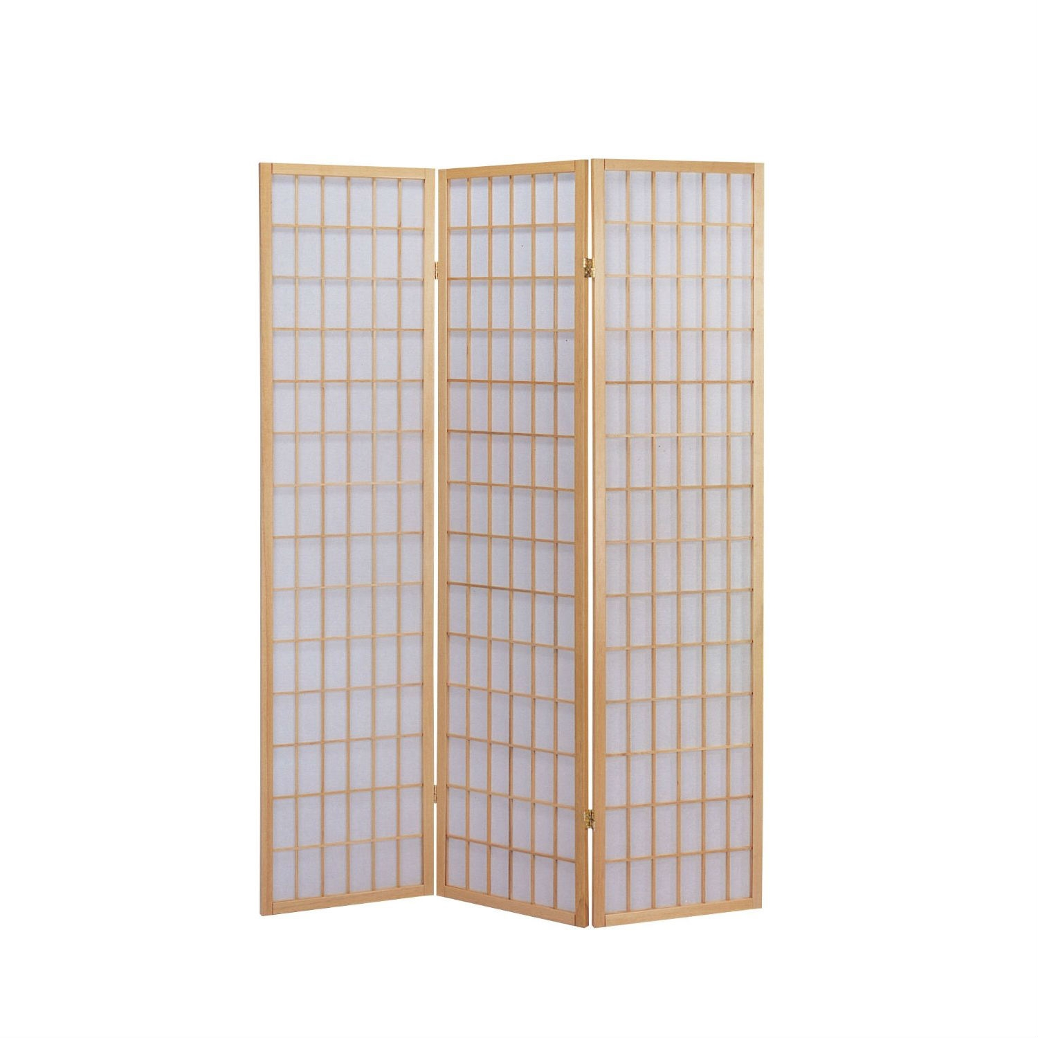 3 Panel Wooden Room Divider Japanese Shoji Screen in Natural