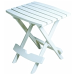 Outdoor Fast Folding Patio Side Table, White Weather Resistant Resin