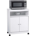 White Utility Cart / Kitchen Microwave Cart with Casters