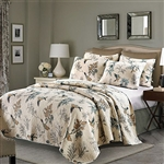 King 3-Piece Cotton Quilt Bedspread Set with Floral Birds Pattern