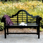Weather Resistant 4.5-Ft Eucalyptus Outdoor Garden Bench in Black