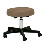 Adjustable Height Pneumatic Rolling Stool with Brown Padded Seat by Earthlite Massage