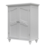 Bathroom Linen Storage Floor Cabinet with 2-Doors in Traditional White Wood Finish