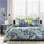 Full / Queen size 5-Piece Paisley Comforter Set in Blue and Yellow Colors