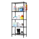 Black Metal 5-Tier Bakers Rack Kitchen Storage Shelving Unit