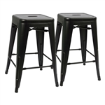 Set of 2 - Modern 24-inch Backless Metal Bar Stools in Black