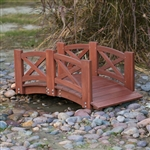 Red Stained Wood 4-Ft Garden Bridge with X-Design Hand Rails