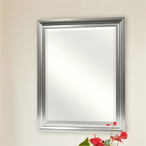rectangular beveled vanity mirror with satin silver finish frame. Black Bedroom Furniture Sets. Home Design Ideas